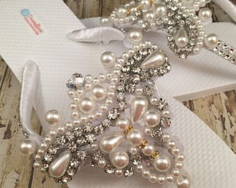 Amelia Bridal Flip Flops Flip Flops, Custom Flip Flops, Dancing Shoes Rhinestone Bridal Sandals Pearl Wedding Flip Flops Wedding Shoes
