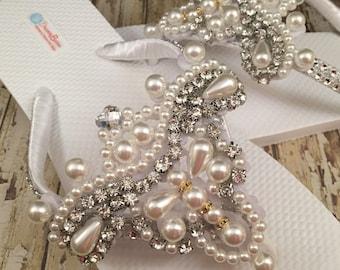 Amelia Bridal Flip Flops Flip Flops, Custom Flip Flops, Dancing Shoes Rhinestone Bridal Sandals Pearl Wedding Flip Flops Wedding Shoes