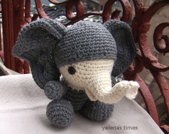 Amigurumi Elephant Pattern : Baby elephant instant download crochet pattern toy