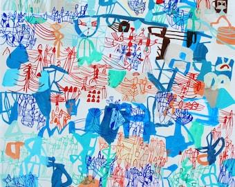 "Blue Lotus - original 18"" x 24"" painting on canvas"