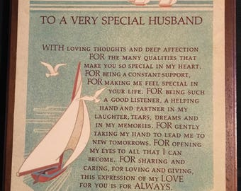 To a very special Husband wood plaque sailing boat  Father's Day gift wedding gift birthday.sentimental