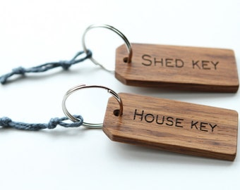 Handmade large wood Key ring. House....Shed...Garage...Barn....Stable key chain. Laser engraved