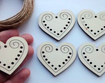 2,5,10 pieces large wood heart tags for crafts, tree decorations, cabochons, card making, decoden, scrapbooking, jewellery, craft supplies,