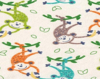 Flannel by the Yard –Monkeys and Bananas 100% Cotton Flannel