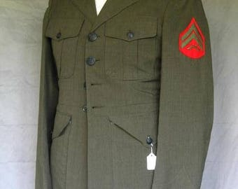 On Sale Marine Corporal Military Jacket 1980's Olive Drab Polyester Wool Tropical