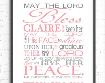 Numbers 6:24-26 Wall Art, Scripture Art, May The Lord Bless You Bible Verse Wall Art, Baby Girl Nursery, Personalized Gift, Religious Art
