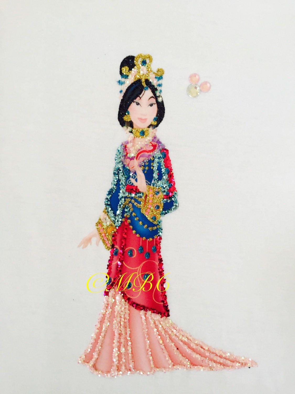 Disney Princess Mulan Fabric Painted Amp Glittered Tank Top
