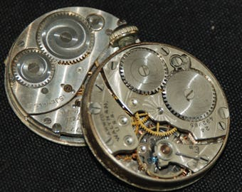 Gorgeous Vintage Antique Elgin Watch Pocket Watch Movements with dials faces Steampunk Altered Art Assemblage Industrial RB 57