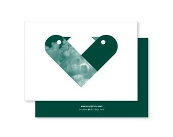 Love Birds Greeting Card - dark green