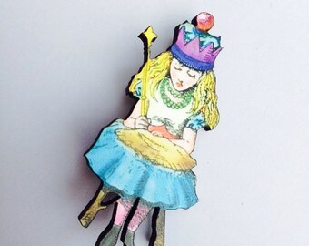 Alice wearing a Crown from Alice in Wonderland - Wooden Brooch Pin - Gift - Laser Cut