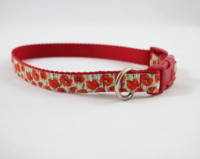 orange flower collar, medium dog collar, poppies, orange dog collar, red collar, pet accessories, pet gift, Bozies Bags