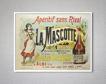 Aperitif sans Rival La Mascotte Food & Drink Poster - Poster Print, Sticker or Canvas Print / Gift Idea