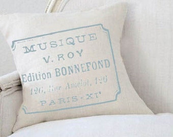 Farmhouse Decor Faded French Stamp Musique Pillow Cover