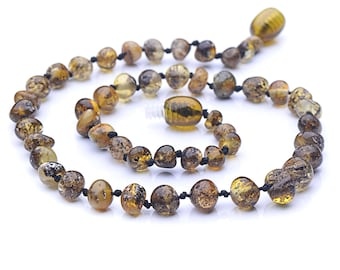 Green Baltic Amber Baby Teething Necklace - Authentic Handmade Baltic Amber