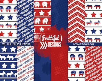 Democratic Blue Republican Red Political Presidential Papers Digital Elephant Donkey Pattern Backgrounds