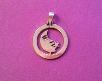 Stainless Steel Cutout Moon Pendant                                                                                     04/18