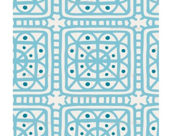 Fairy Hill fabric by the yard, color Turquoise, Print on Linen and Cotton Blend