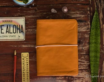 LEATHER CAHIER COVER • travelers notebook • fits Moleskine Cahier • real journal orange brown leather cover • foxydori • sketchbook