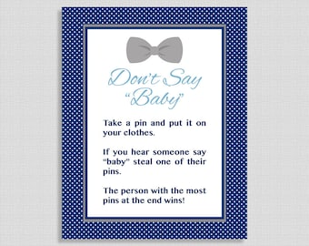 Don't Say Baby Game Sign, Navy & Grey Bow Tie Baby Shower Game, Diaper Pin, INSTANT PRINTABLE