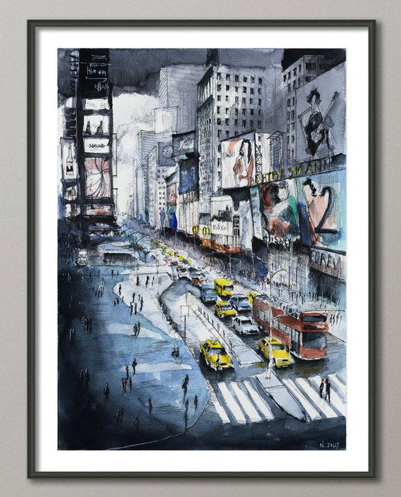 Watercolor New York: New York Painting Time Square Painting New York Watercolor
