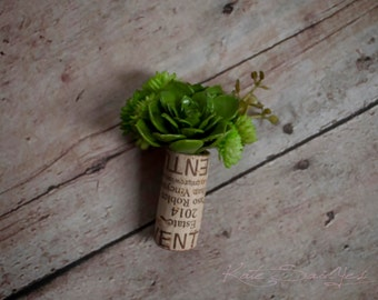Wine Cork Boutonniere - Succulent Wedding Boutonniere