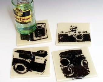 Vintage Cameras Fused Glass Coaster 4-pack, camera coasters, photography coasters, set of 4