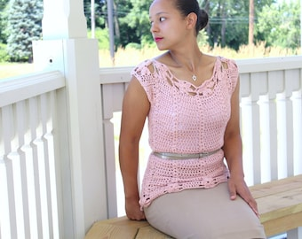 Women's pastel spring blouse, Crochet cotton top - The Sakura- Women's crochet top, Tank top, Blush pink top