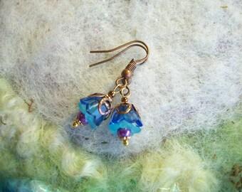 Blue Bells,Tiny Earrings, Pixie Flower Bud Earrings