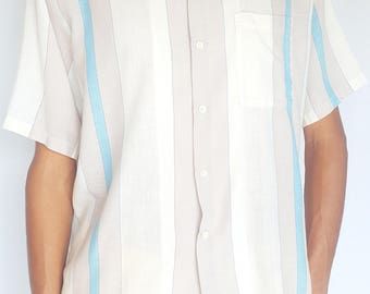 Vintage 1970s Blue & White Striped Bowling Short Sleeve Button-Up / Size (XL)