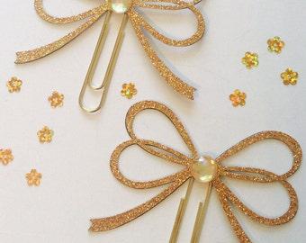 Gold Glitter Bow Clip ~ Planner Clip ~ Page Clip ~ Bookmark