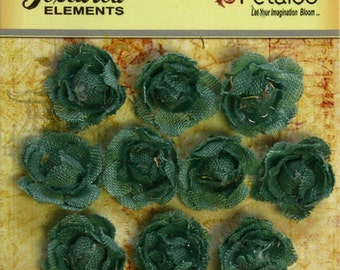 Petaloo Textured Elements Mini Garden Canvas Rosettes Antique Blue