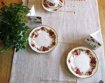 Hemstitched 'TEA x2' linen table runner, linen table topper, linen tablecloth