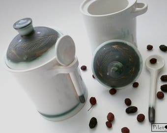Ceramic Jar, Ceramic pot for tea and dry spices, Pottery pot with lid and spoon, Handmade ceramic pot, Hand thrown pottery