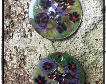 Purple and Green Handmade Enamel Copper Charms