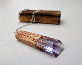 Wood and resin necklace-Mahogany wood-Violet Resin-HANDMADE-Unique necklace