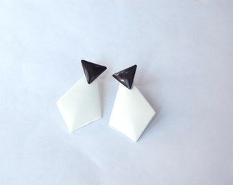 Vintage 1980s Black and White Layered Geo Drop Earrings / Retro Costume Jewelry