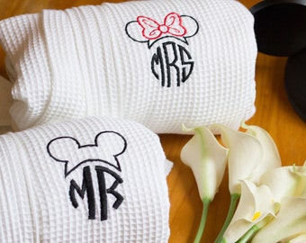 Disney Inspired Couples robes - Set of Mr. and Mrs. Robes - Short Robes - Great Wedding Gift - Couple Gift Kimono Waffle Weave Robes