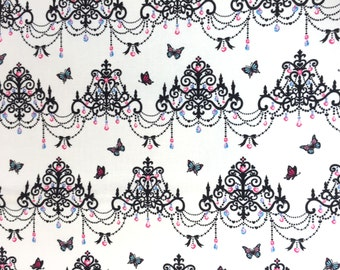 """Butterfly Chandelier CREAM IVORY 100% Cotton ~ 42"""" Wide ~ Sold by the Yard"""