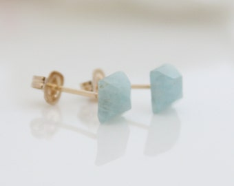 Aquamarine stud earrings - Square aquamarine in gold post earrings, March birthstone
