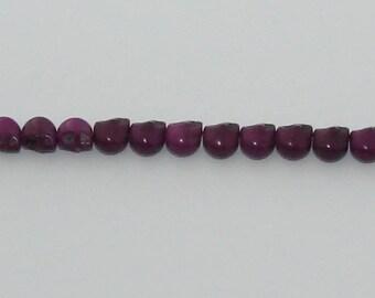 10 small beads skulls purple howlite