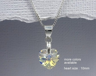 Flower Girl Crystal Heart Necklace, Flower Girl Jewelry, Swarovski Heart Necklace, Sterling Silver Necklace, Flower Girl Gift, Gift for Her