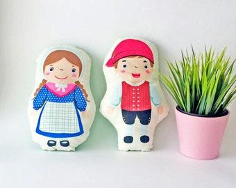 Handmade fabric dolls, Dane, Denmark, Danish national dolls, european national dolls, kids pillow, baby pillow, baby gift, baby shower