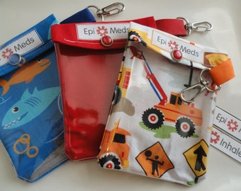 Epi or Inhaler Pouch (3 Pack) Clear Front W/ Clip Holds 1 - 2 Auvi Q Style Allergy Injectors or 1 Asthma Puffer 4x5 - You Choose Fabric