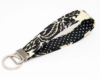 Key fob damask, fabric keychain wristlet, keyring - black and cream damask with black and white polka dot