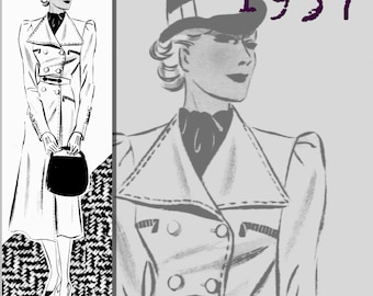 Practical Coat (39in/100cm bust) - 1930's - Vintage Reproduction PDF Pattern - made from original 1937 Pattern