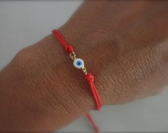 evil eye bracelet on a string - red cord - protection bracelet - gold evil eye - adjustable evil eye bracelet - choose cord color