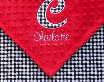 Personalized Houndstooth Baby Blankie , Alabama Crimson Tide Baby Lovie , Applique Initial and Embroidered Name, Roll Tide