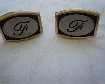 Vintage Pair Silver & Black Dante Cufflinks Initial F