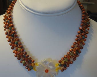 """Vintage Woven Gemstone Beaded 16 1/2"""" Choker/Necklace w/ Carved Shell Flower Pendant, Magnetic Clasp, Fancy Jasper and Goldstone"""