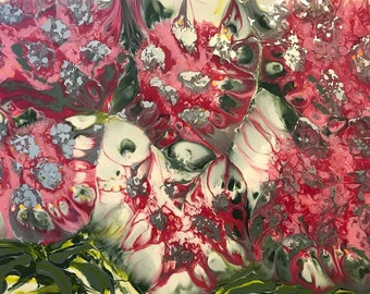 Resin Art: Pink - Explosive Natives - Pink Flowering Gum - 90cm (W) x 60cm (H) x 4.5cm (D)